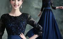 蓝黑色中长袖新娘婚纱晚宴年会主持人长款礼服