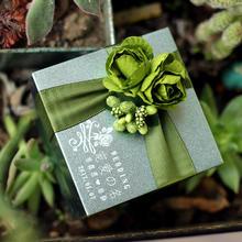 花半里 森系婚礼喜糖盒欧式手工马口铁绿色喜糖盒