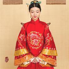 华芬嫁衣 原创中式嫁衣手工刺绣花开富贵大团花真丝三层袖四片裙