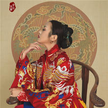 华芬嫁衣 中式改良礼服 手工盘金大凤凰对襟拖尾礼服 手工定制