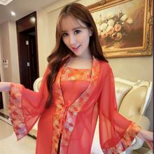【确认收货+好评=返现3元】古典性感红色透视薄纱情趣内衣套装