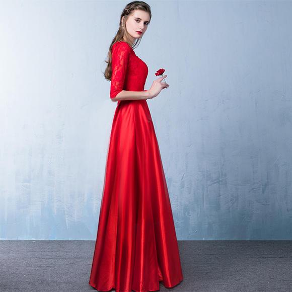 晚礼服中长款 新款秋冬时尚短款中袖新娘敬酒服结婚礼服女