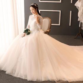 冬季新款立领复古公主齐地婚纱礼服新娘长拖尾婚K59