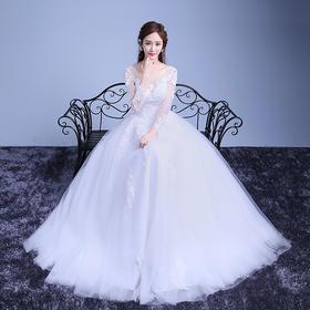 韩式长袖齐地婚纱礼服冬季新款新娘结婚蓬蓬婚纱K60