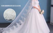 韩式中袖一字肩婚纱礼服秋冬显瘦长拖尾齐地K57