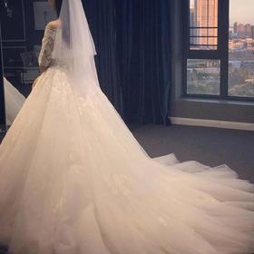拖尾蕾丝简约婚纱礼服新娘结婚一字肩长袖孕妇K58