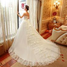 婚纱礼服春冬季新款韩式孕妇抹胸新娘结婚长拖尾大码显瘦简约