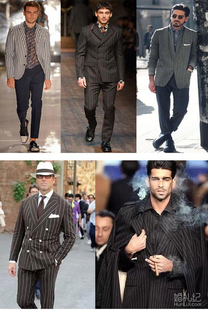 商务范-黑色条纹双排扣套西