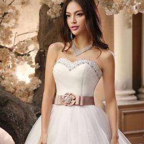 新款新娘韩式双肩蕾丝公主绑带影楼豪华大拖尾婚纱279