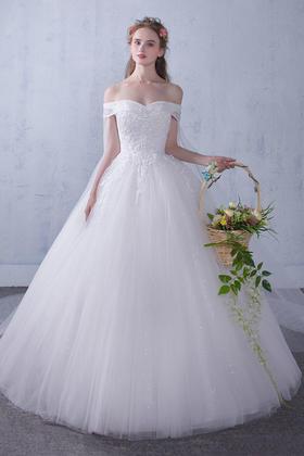 新款婚纱礼服一字肩齐地新娘结婚韩式简约修身拖尾飘纱