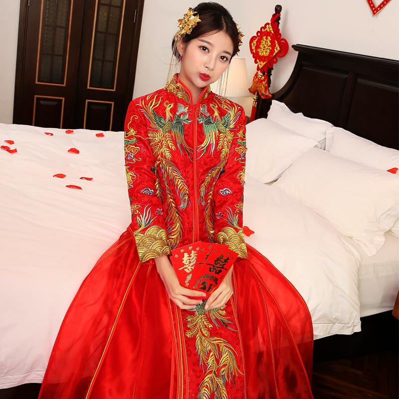 秀禾服新款陈晓陈妍希同款新娘结婚嫁衣刺绣中式结婚礼服凤冠霞帔图片