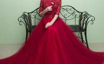 [可定制]新款新娘敬酒服长款红色孕妇结婚宴会复古立领晚礼服