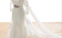 一字肩齐地大拖尾婚纱 大蝴蝶结绑带式孕妇大码婚纱礼服