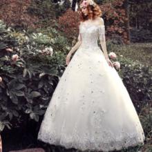【送三件套】婚纱礼服2017新款韩式结婚一字肩婚纱齐地修身