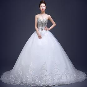 新款韩式拖尾抹胸婚纱礼服 新娘高腰显瘦奢华钻蕾丝婚纱