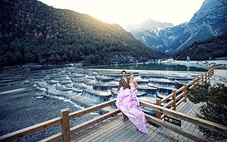 大美丽江+蓝月谷全景区蜜月婚拍/雪山远景/拉市海