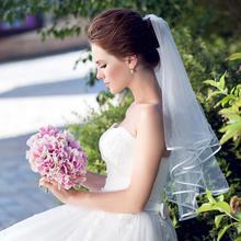 新娘唯美经典头饰短款1.5米头纱丝光带边