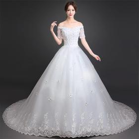 新款冬季婚纱礼服新娘齐地韩式大码显瘦一字肩长袖长拖尾