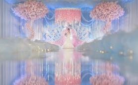 梦幻仙境 粉蓝柔美清澈布置  高大绝美樱花树