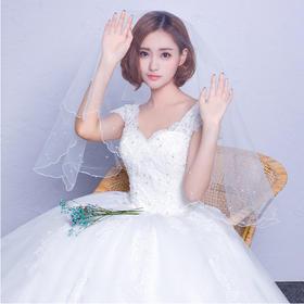 新款修身韩式新娘齐地婚纱礼服一字肩大码简约结婚婚纱