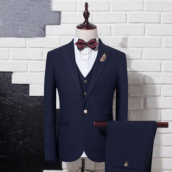 送领结 新款男士西服套装三件套新郎结婚礼服正装伴郎小西装