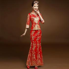 中式婚纱礼服秀禾服长款 新款新娘结婚敬酒服旗袍K8
