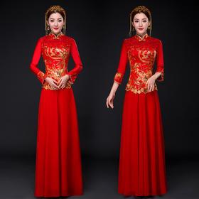 敬酒服旗袍秋冬季长袖长款红色喜服中式婚礼结婚秀禾服K11