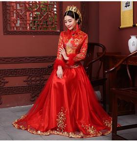 敬酒服新娘旗袍长款冬新款结婚中式婚纱礼服秀禾服嫁衣K12
