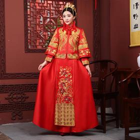 秀禾服新娘旗袍敬酒婚纱礼服结婚古装中式嫁衣龙凤褂冬季K14