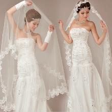 新娘头纱新款韩式蕾丝花边超长3米5米10米拖尾结婚纱礼服配件