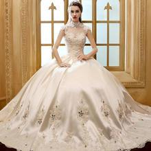 送六件套】婚纱礼服新娘齐地新款香槟色冬季韩式复古立领K29