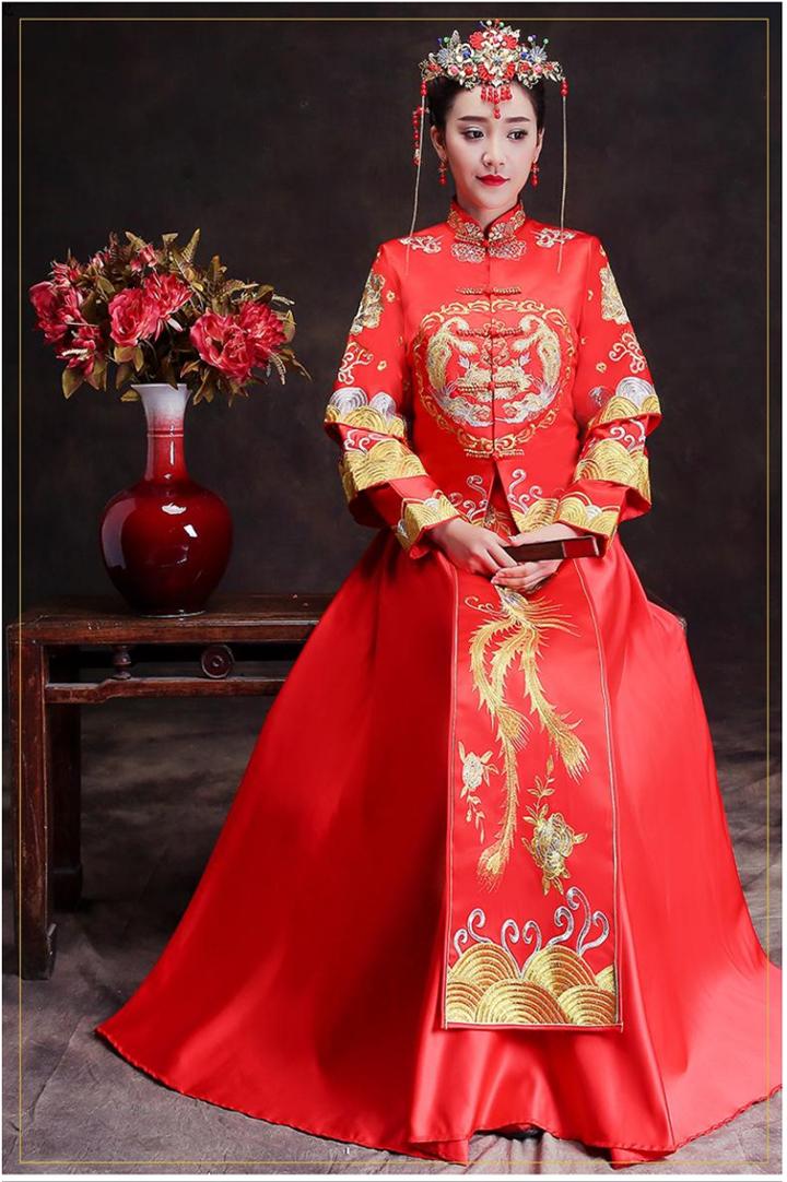 新娘 秀禾服新款中式结婚礼服敬酒服结婚嫁衣 1799 敬酒服发型新娘