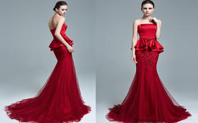 逸品定制 MS615红色鱼尾蕾丝缎面长裙礼服