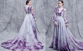 逸品定制 GA603时尚紫色飘逸抹胸礼服长裙