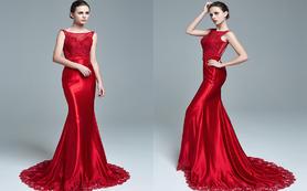 逸品定制 GA611红色鱼尾露背时尚性感礼服