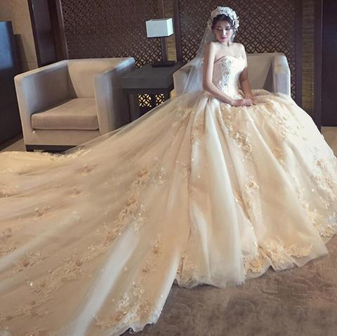 婚纱礼服新娘长拖尾2017新款抹胸拖尾宫廷韩版公主显瘦婚纱
