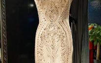 浅香槟金色重工钉珠显瘦鱼尾礼服