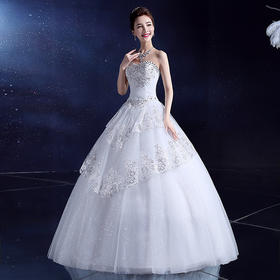 新款韩版新娘白色红色镶钻抹胸显瘦修身齐地K79