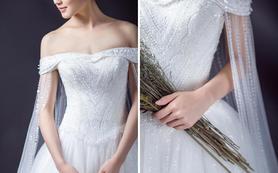 新款轻奢披纱女王范一字肩长托+出门纱+2件礼服