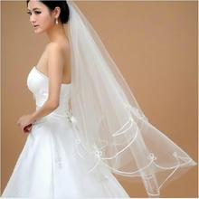 头纱韩式新款蕾丝线边长头纱1.5米头纱结婚长款新娘配饰 新娘