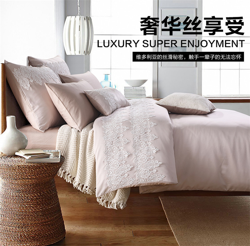 全棉美式奢华床上用品 欧式样板房软装纯棉贡缎花边婚庆四六件套