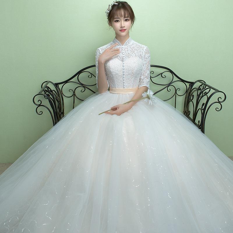 婚纱礼服2016新款冬季复古立领齐地婚纱公主镂空新娘