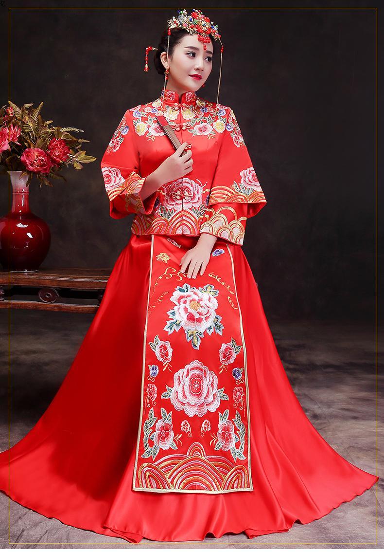 中式结婚秀禾服红色修身新娘敬酒服新款旗袍礼服冬季复古嫁衣图片