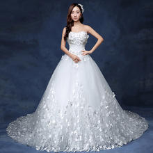 送三件套】Q52韩版公主花朵修身长拖尾抹胸新娘简约复古