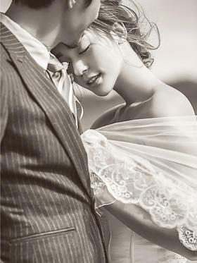 礁石韩式文艺海景婚纱照