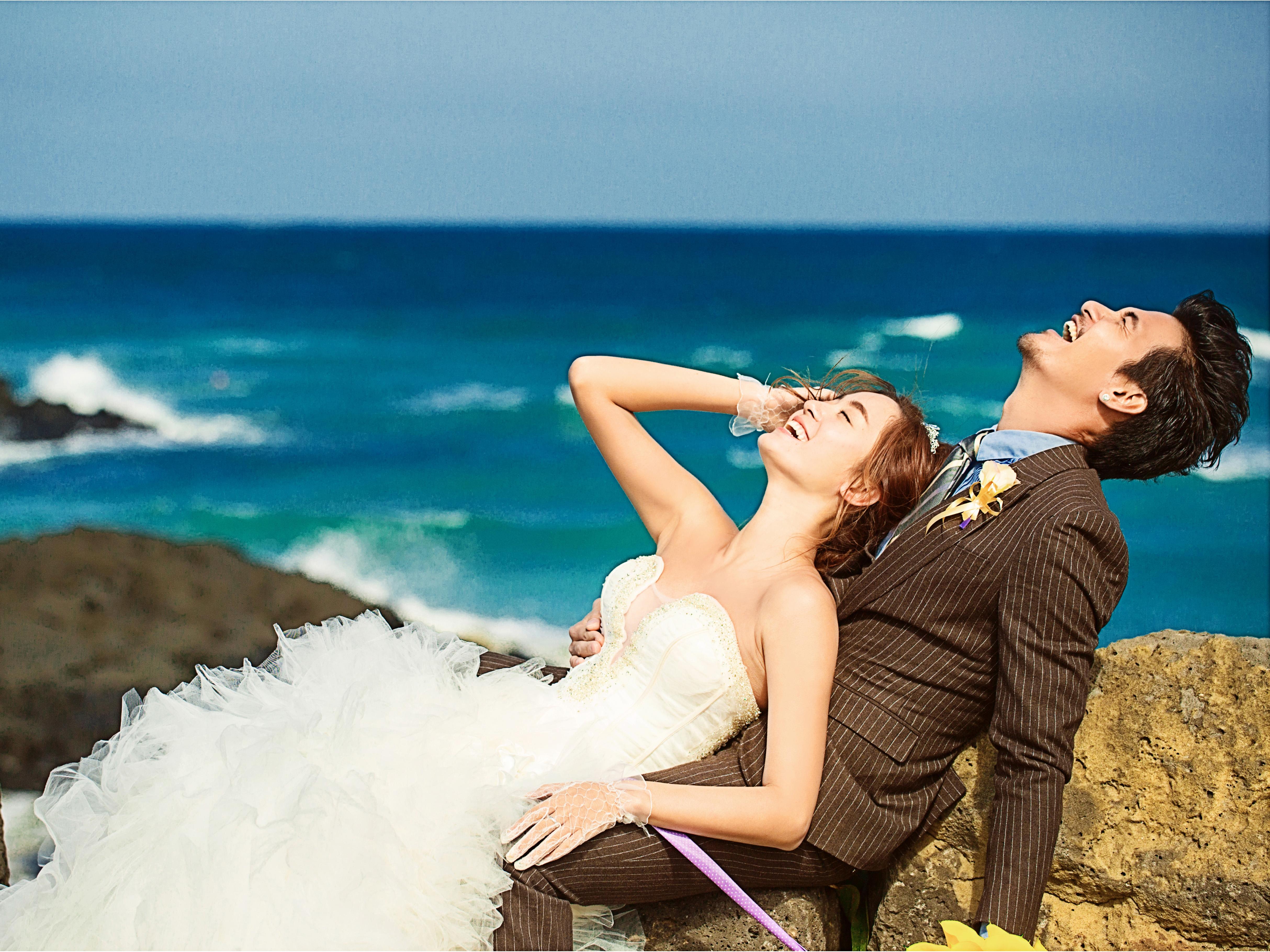 文艺礁石海景婚纱照