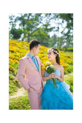 公主嫁期公园草坪婚纱照