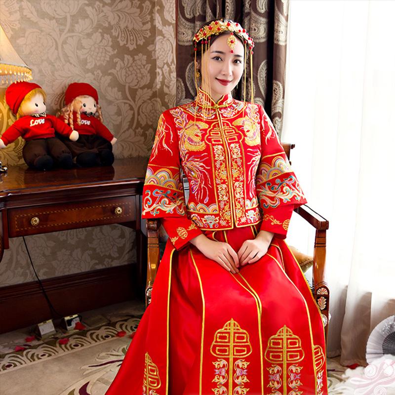 秀禾新娘新郎婚礼敬酒娘礼服中式嫁衣结婚旗袍红色婚纱婚礼176图片