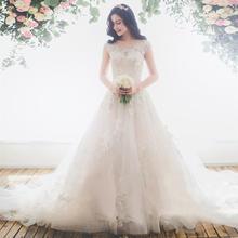 女神范送三米头纱!婚纱大拖尾2017韩式一字肩花朵蕾丝收腰