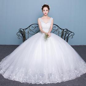 婚纱礼服韩式双肩V领显瘦公主大码齐地修身新娘婚礼